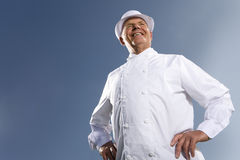 Portrait of baker in white uniform Royalty Free Stock Image