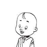 Portrait of a bald boy isolate illustration Stock Photo