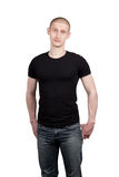 Portrait Of A Bald Man. Athletic young man in jeans and t-shirt isolated on white background Royalty Free Stock Photography