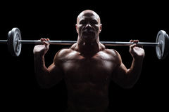Portrait of bald man lifting crossfit Royalty Free Stock Images