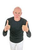 Portrait bald man with thumbs up Royalty Free Stock Photography