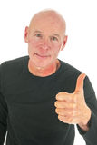 Portrait bald man with thumbs up Stock Photos