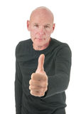 Portrait bald man with thumbs up Royalty Free Stock Image