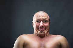 Portrait of bald scared man Stock Photography