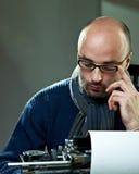 Portrait of a bald serious man Stock Photos
