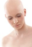 Portrait of bald woman - Breast Cancer Awereness. Portrait of young hairless woman Royalty Free Stock Photos