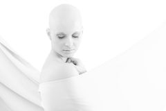 Portrait of bald woman - Breast Cancer Awereness. Portrait of young hairless woman Stock Photos