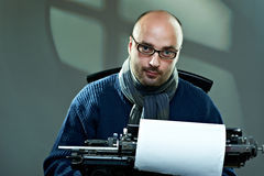 Portrait of a bald writer Stock Image