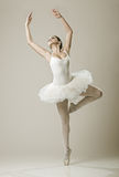 Portrait of the ballerina in ballet pose Royalty Free Stock Photos