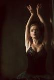 Portrait of the ballerina in ballet tatu on black Royalty Free Stock Photo