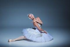 Portrait of the ballerina in ballet tatu on blue background Royalty Free Stock Photos