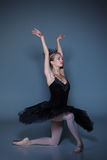 Portrait of the ballerina in ballet tatu on blue Royalty Free Stock Photo