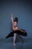 Portrait of the ballerina in ballet tatu on blue Stock Photography