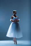 Portrait of the ballerina on blue background Royalty Free Stock Image