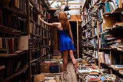 Portrait of ballerina girl in vintage book store wearing casual clothes. And ballet shoes royalty free stock photography