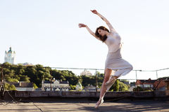 Portrait of ballerina on the roof royalty free stock photos