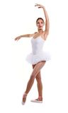 Portrait of ballet dancer in tutu over white Royalty Free Stock Image