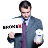 Portrait of bankrupt broker holding money box Stock Photography