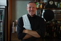 Bar tender standing at bar counter. Portrait of bar tender standing at bar counter Royalty Free Stock Images