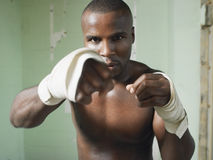 Portrait Of Bare Chested African American Boxer Royalty Free Stock Image