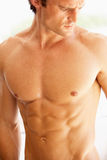 Portrait Of Bare Muscular Torso Of Young Man. Looking Down Stock Photography