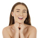 Portrait of a bared beautiful woman getting ready for the spa tr. Eatment, isolated on a white background, please see some of my other parts of a body images royalty free stock photography