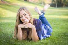 Portrait of a Barefooted Teen Female Outdoors Stock Photos