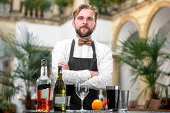 Portrait of barman at the restaurant Stock Photo