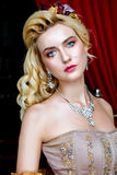 Portrait of baroque fashion woman Royalty Free Stock Photos
