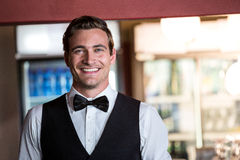 Portrait of bartender standing at bar. Portrait of smiling bartender standing at bar Royalty Free Stock Photography