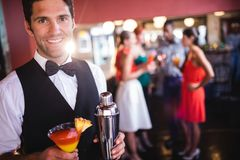 Bartender standing with cocktail glass and cocktail shaker in nightclub. Portrait of bartender standing with cocktail glass and cocktail shaker in nightclub stock image