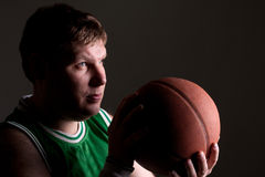 Portrait of basketball player with ball stock photo