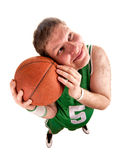 Portrait of basketball player with ball stock image