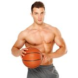 Portrait of a basketball player isolated on white Stock Photo