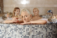 Portrait in bath Stock Image