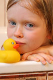 Portrait with bath duck Stock Photography