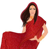 Portrait of bautiful indian woman wearing bridal outfit vector illustration