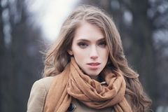 Portrait of bautiful model outdoors royalty free stock images