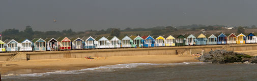 Portrait of the beach huts Stock Image