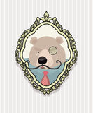 Portrait of a bear with a mustache wearing glasses in retro styl Royalty Free Stock Photo
