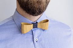 Portrait of Bearded Adult Man in a Blue Shirt. Close Up Portrait of Bearded Adult Man in Blue Shirt and Stylish Wooden Bow Tie. Happy Boss`s boss chef day Stock Images