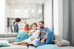 Family Evening at Home stock photography