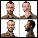 Portrait of bearded guy over white background Stock Images