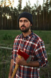 Portrait of bearded Lumberjack with Ax Royalty Free Stock Images