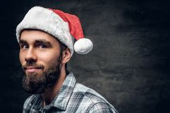 Portrait of bearded male dressed in a plaid shirt and Santa`s ha stock photos