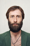 Portrait of the bearded man. The head of the man with a big beard Royalty Free Stock Photo
