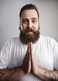 Portrait of a bearded man begging Stock Photos