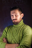 Portrait of a bearded man with glasses,. A mustachioed guy in a green sweater Stock Photos