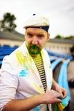 Portrait of bearded man during holi festival Stock Image
