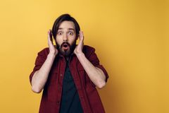 Portrait of Bearded Man Shocked Face Expression stock photography